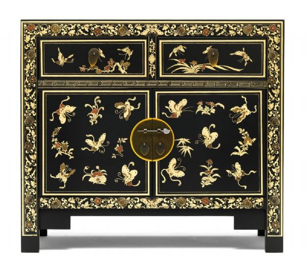 The Nine Schools from Baumhaus Black Decorated Sideboard | Black 2 door 2 drawer Chinese sideboard with an Oriental design in gold leaf.